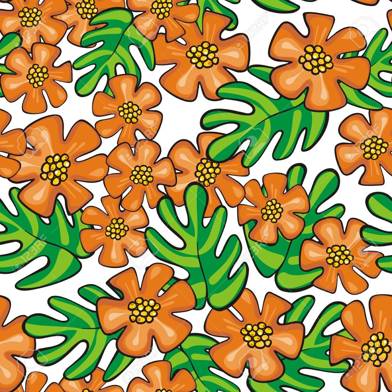 Colorful Wild Exotic Orange Flowers And Green Leaves On White Background Cartoon Style Floral Seamless Pattern