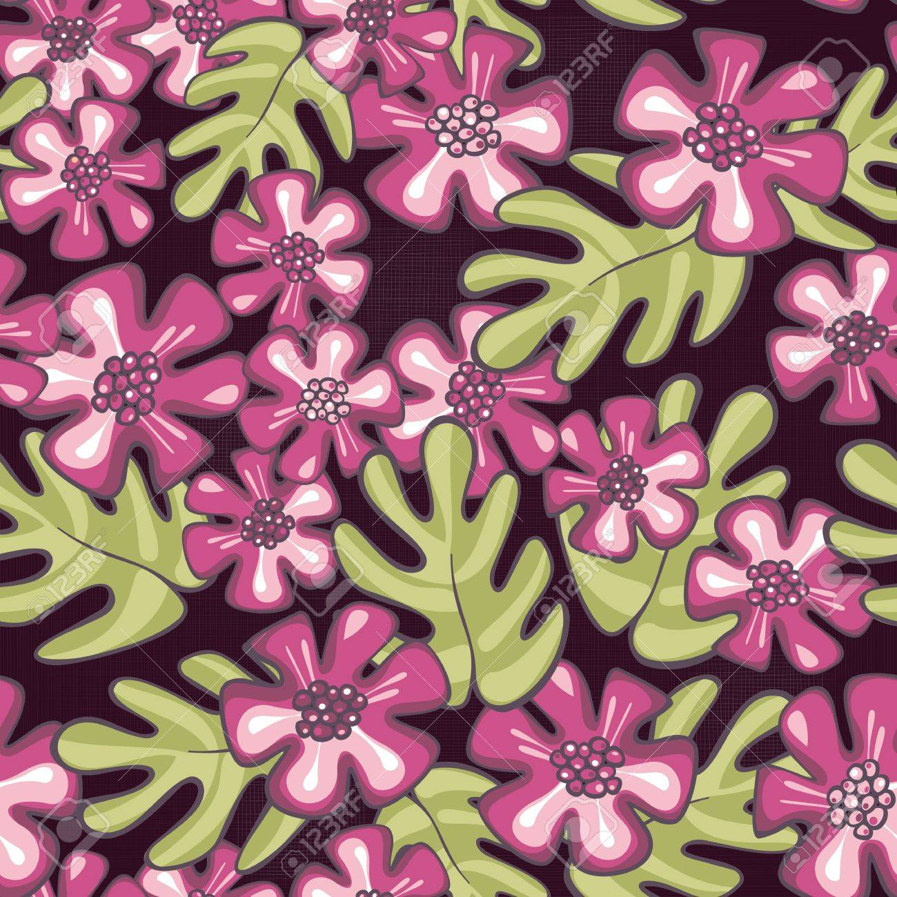 Wild tropical exotic pink flowers and green leaves on purple vector wild tropical exotic pink flowers and green leaves on purple patterned background floral seamless pattern mightylinksfo