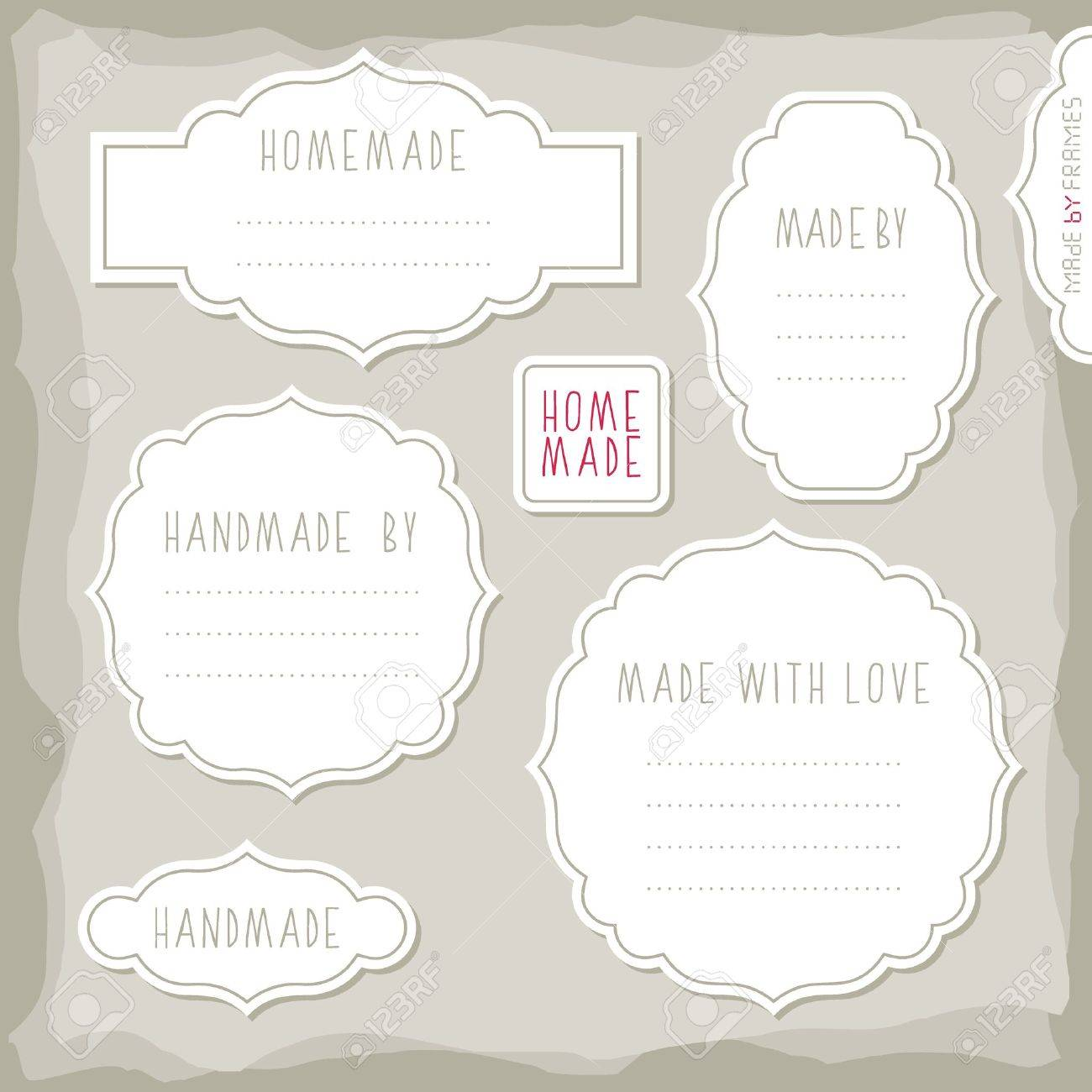 homemade made with love simple white vintage labels with border
