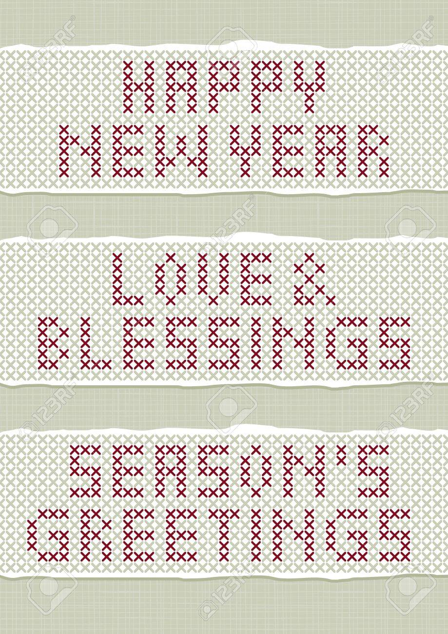 happy new year love and blessings season s greetings wishes stitched embroidered red gray torn text