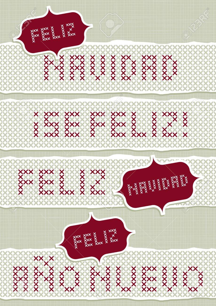 feliz navidad felices fiestas feliz ano nuevo spanish christmas new year wishes with vintage frames stitched
