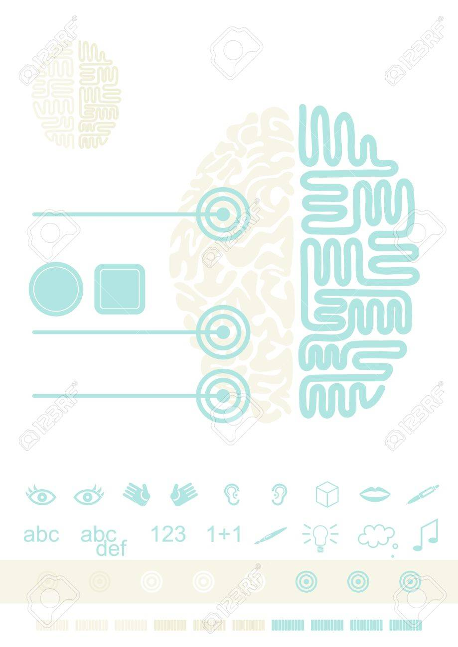Brain functioning healthcare medical thinking gray turquoise illustration with set of function icons Stock Vector - 23206733
