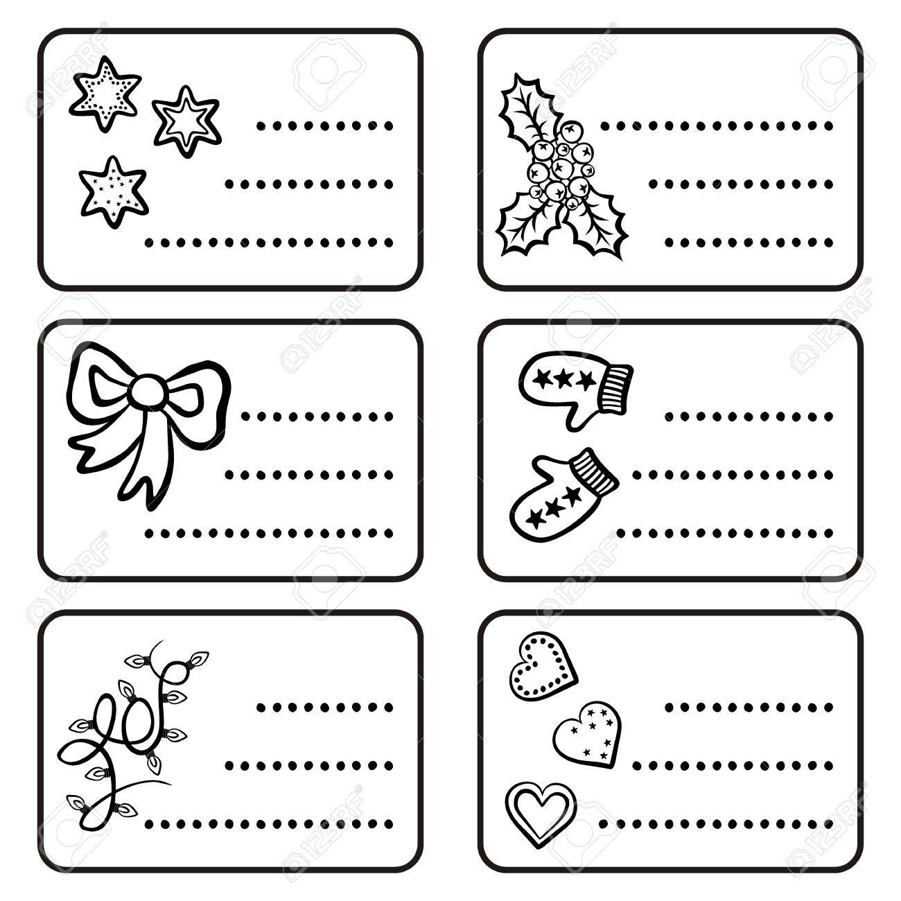 monochrome black and white winter holidays Christmas time gift label sticker set with winter Christmas related illustrations on white background Stock Vector - 23849118