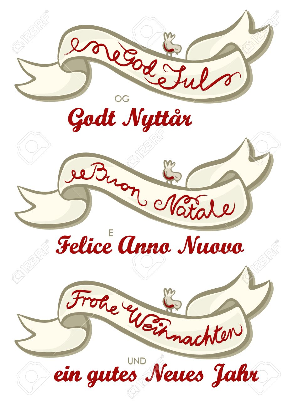 Merry Christmas German Italian Norwegian Different Languages ...