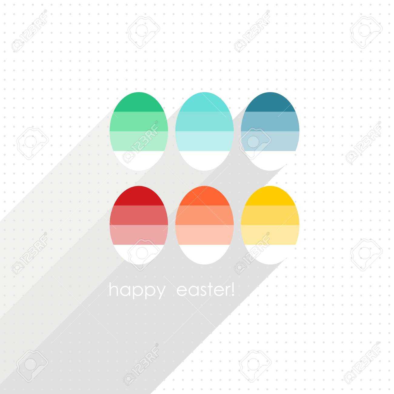 Flat Colorful Dyed Eggs Spring Easter Time Greeting Card Centerpiece