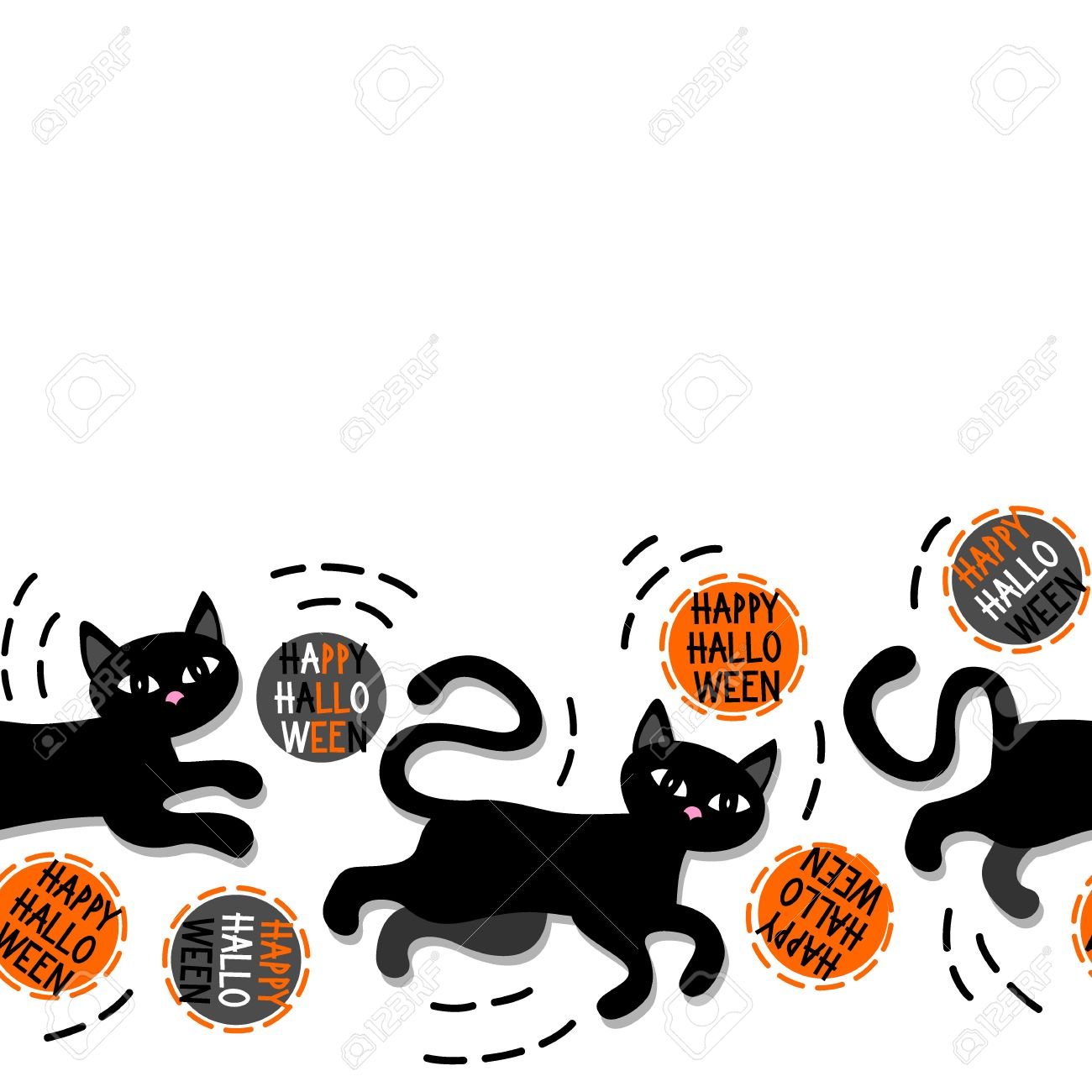 Black Cats With Halloween Wishes Holiday Seamless Horizontal Border On  White Background Stock Vector   31053353