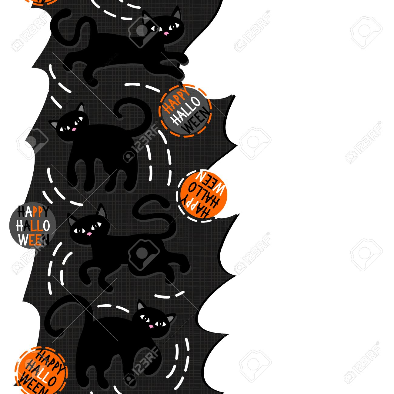 Black Cats With Halloween Wishes Holiday Seamless Vertical Border On Torn  Paper Dark Background Stock Vector