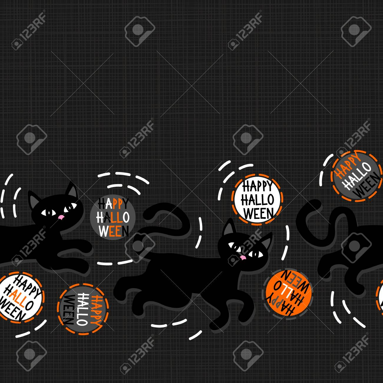 Black Cats With Halloween Wishes Holiday Seamless Horizontal Border On Dark  Background Stock Vector   31075931