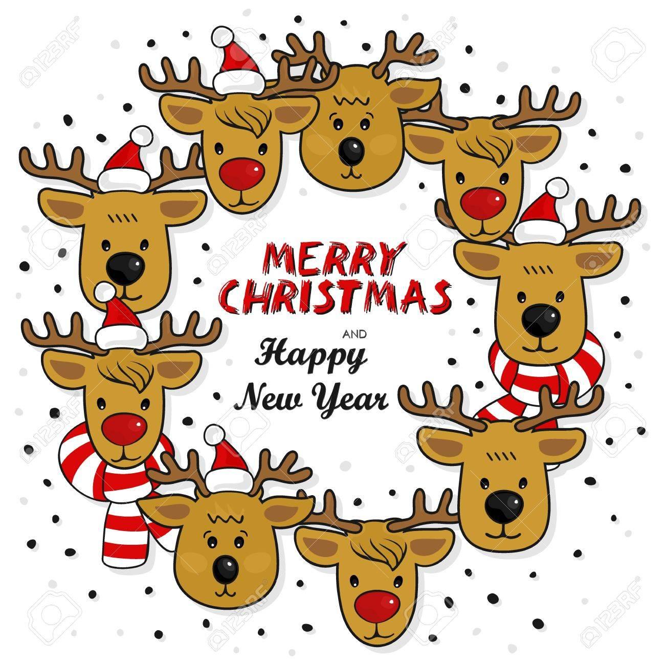 Reindeer Gruppe Kranz In Weihnachtsmann Hüten Und Bunten Schals