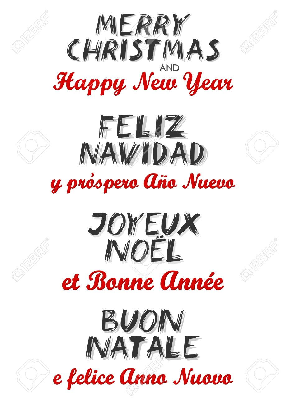Merry Christmas And Happy New Year In English Spanish French ...