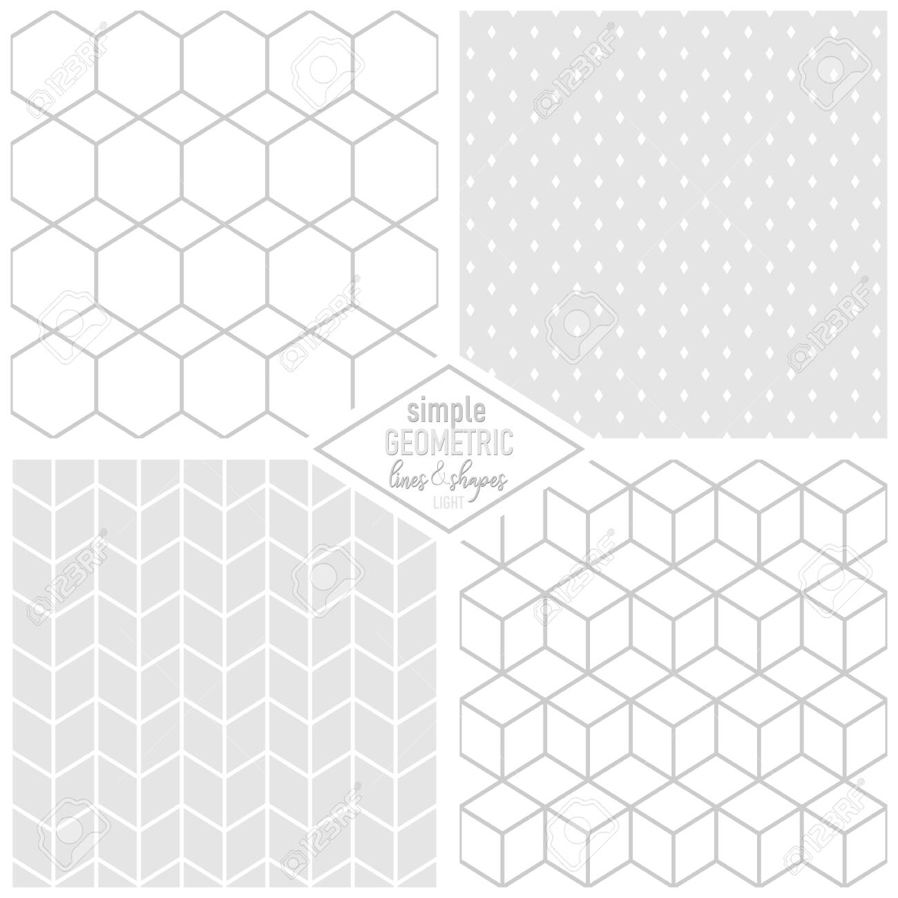 elegant geometric simple lines and shapes hexagons cubes diamonds monochrome light background seamless pattern set - 124429034