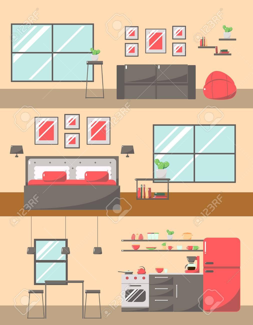 Set Bunte Zimmer Innenräume Mit Möbel Icons: Wohnzimmer ...