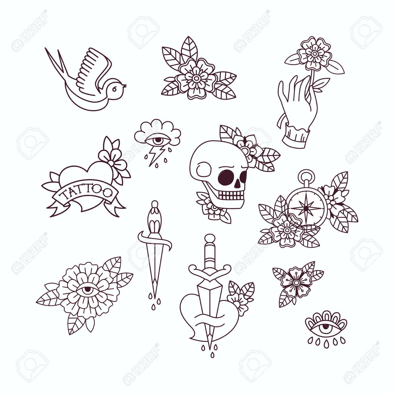 60a7c8b29d55f Old School Tattoo Elements. Set of Vintage Tattoos. Stock Vector - 74784062