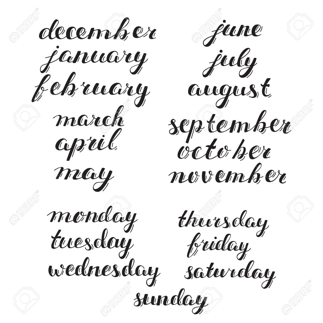 Hand Drawn Calendar Set Set Of Months Of The Year And Days Of