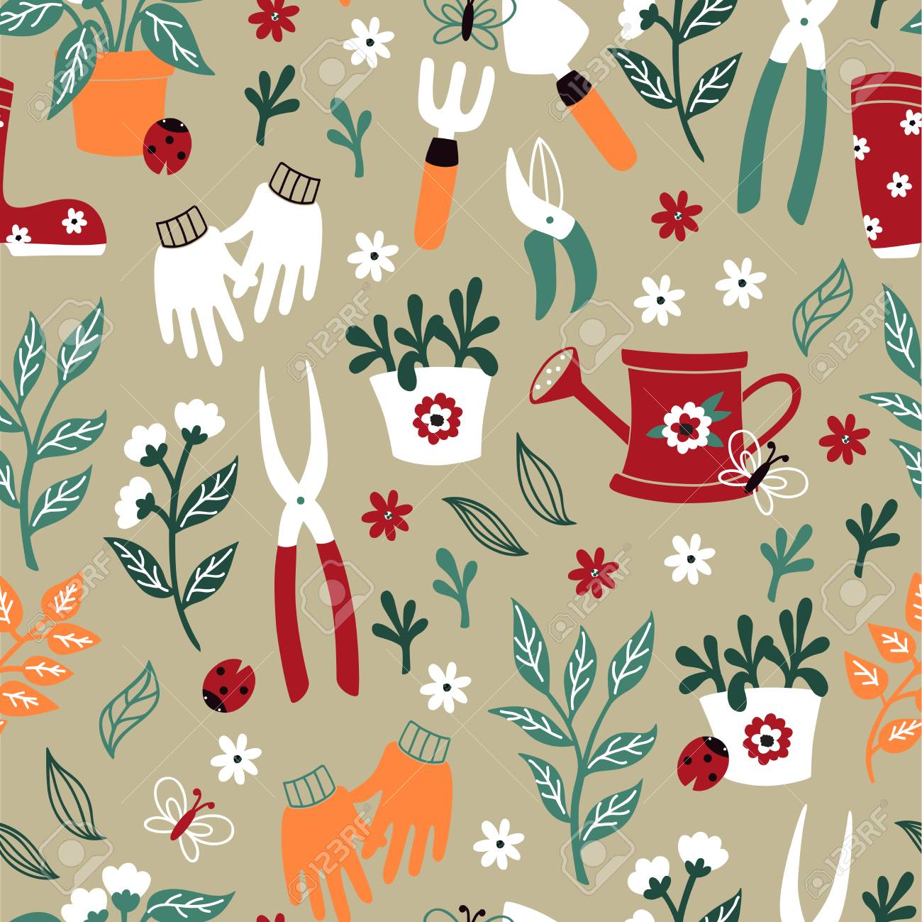Gardening Pattern For Wallpaper Royalty Free Cliparts Vectors And Stock Illustration Image 100482941