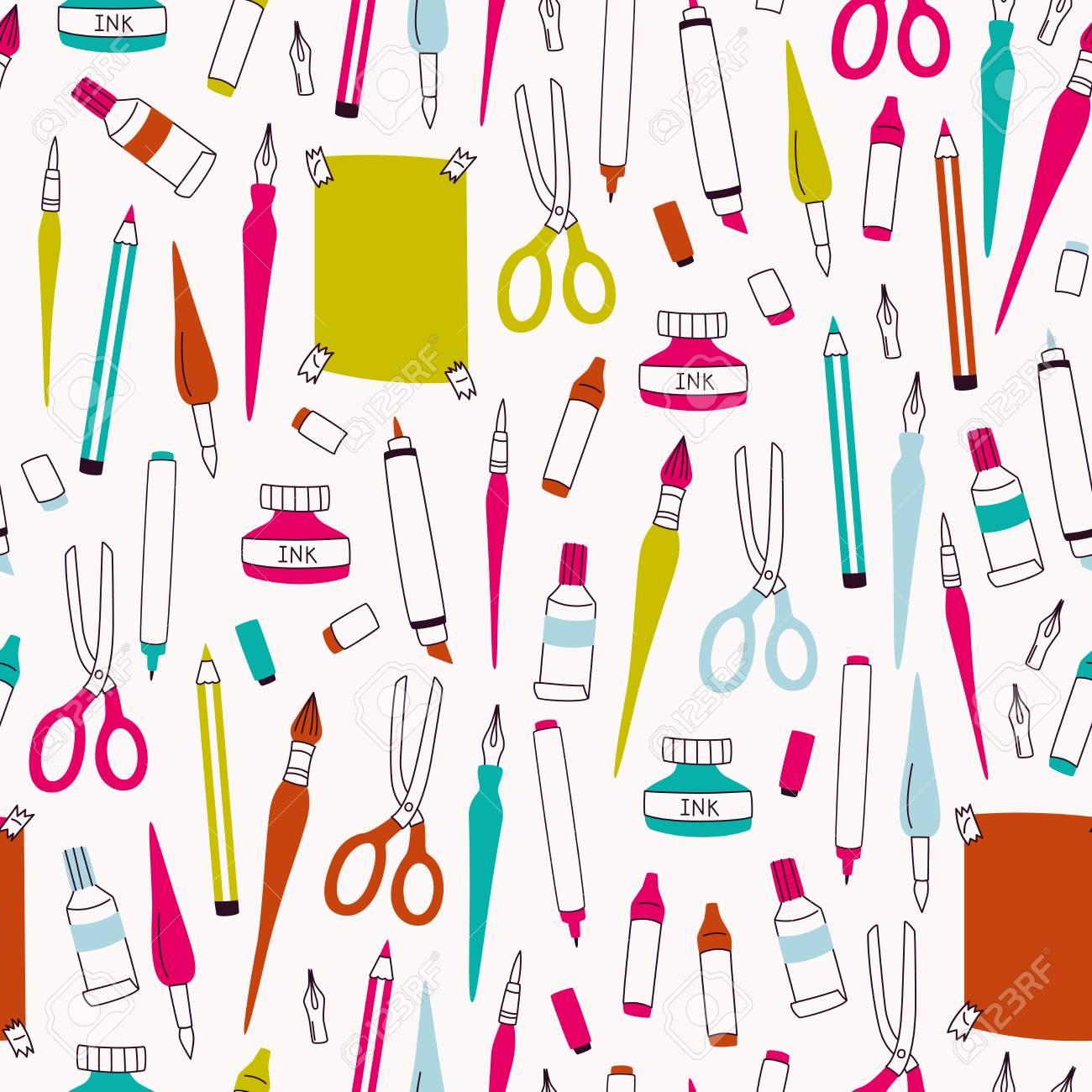 Art Supplies Pattern For Wallpaper Stock Vector
