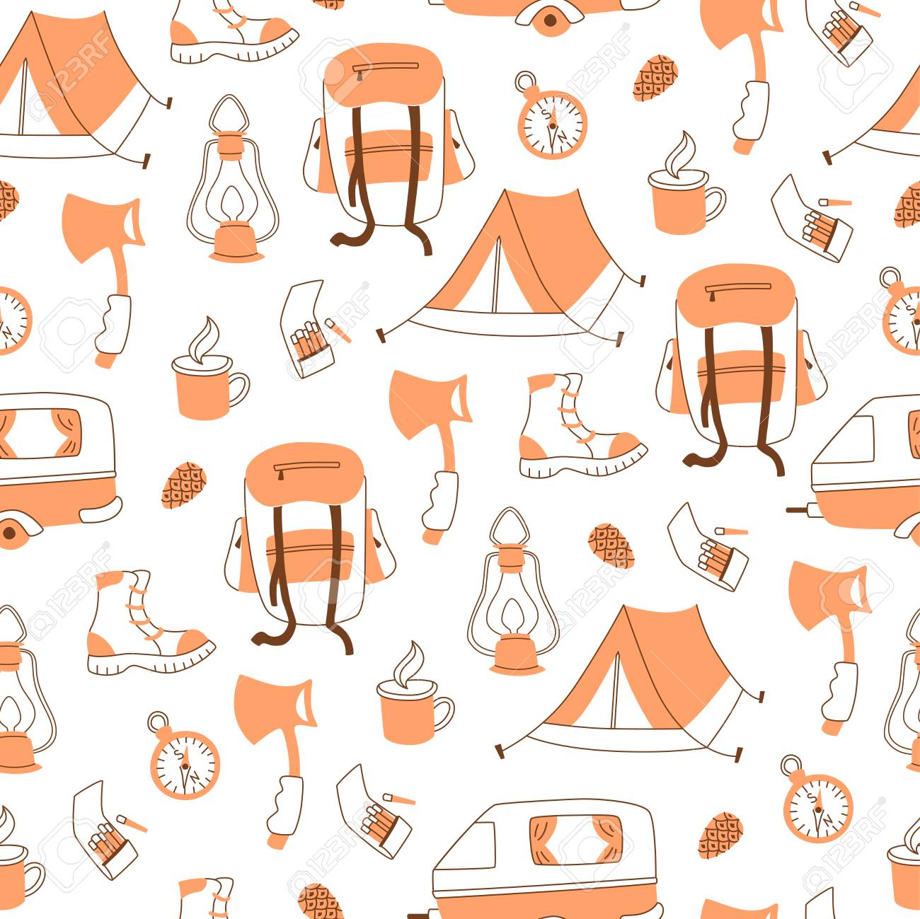 Camping Hand Drawn Pattern For Wallpaper Royalty Free Cliparts Vectors And Stock Illustration Image 100483000