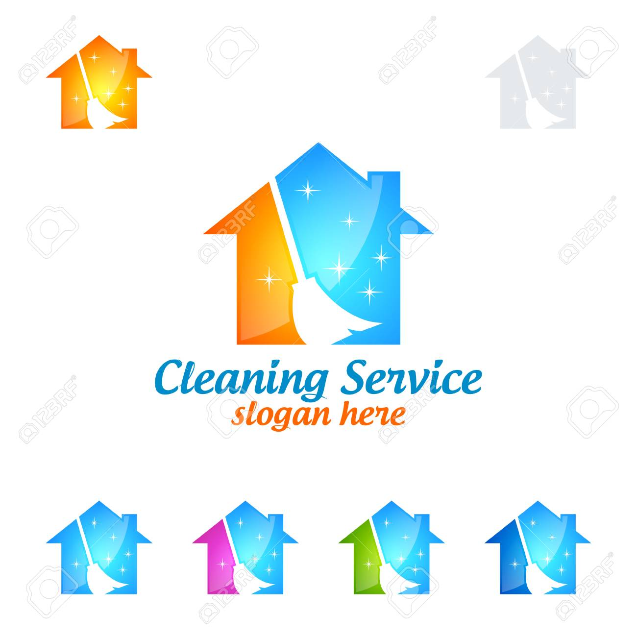 Home Cleaning Service Vector Logo Design, Eco Friendly With Shiny ...