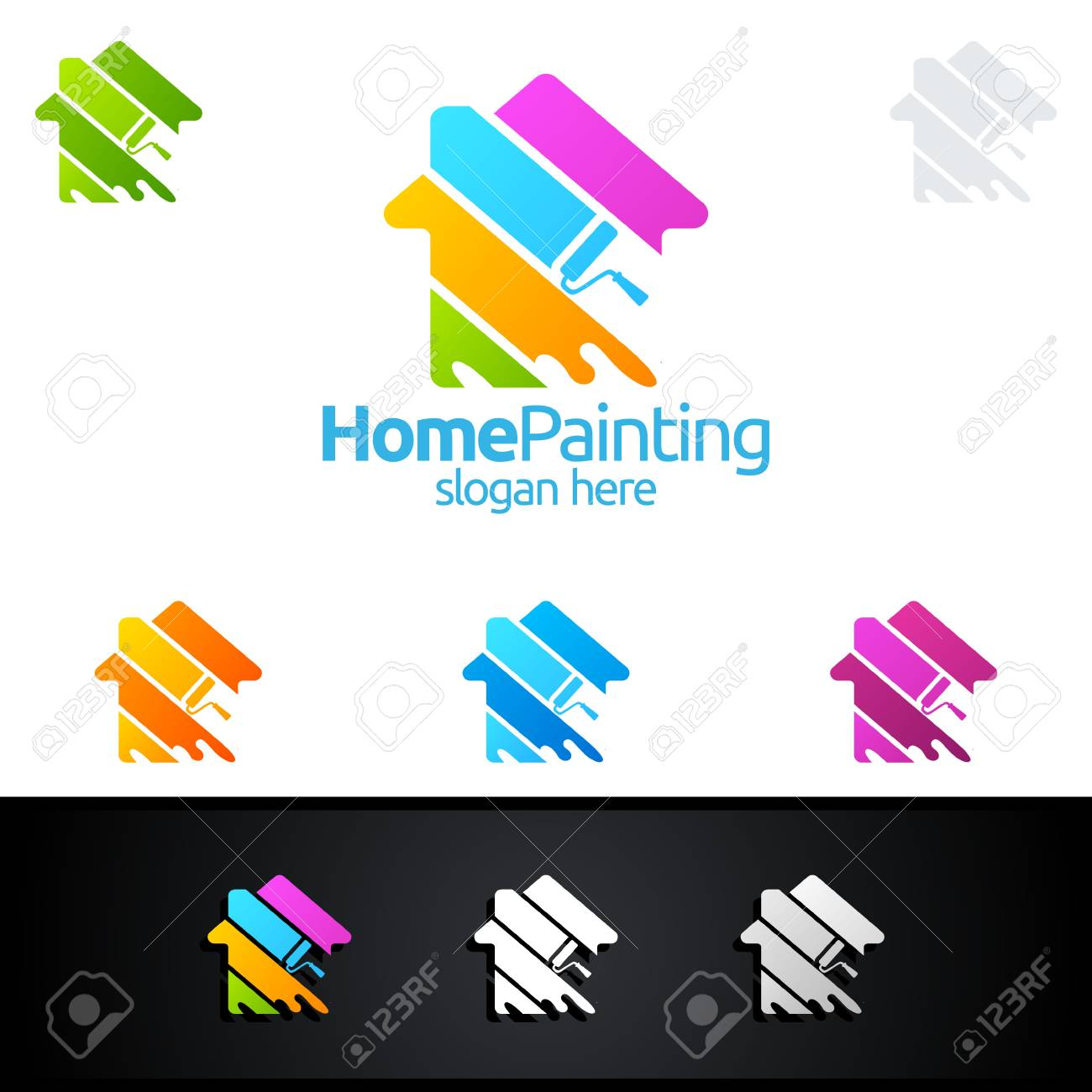 Home Painting Vector Logo Design Royalty Free Cliparts, Vectors, And