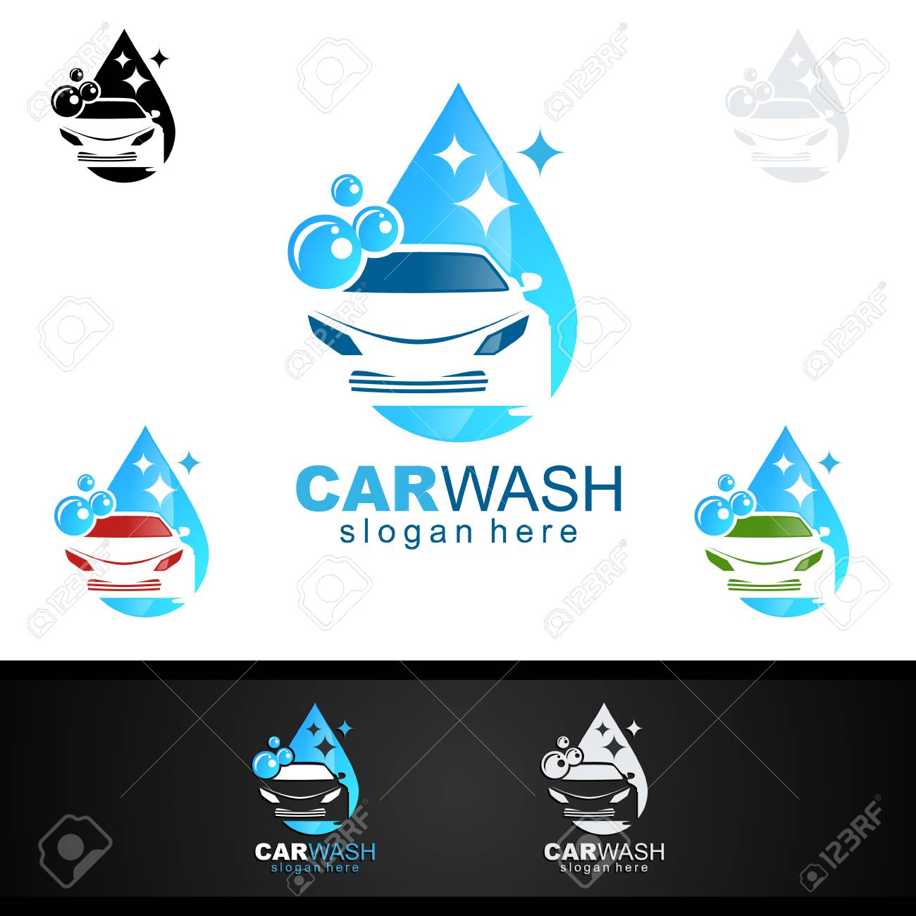 Car Wash Logo Cleaning Car Washing And Service Vector Logo