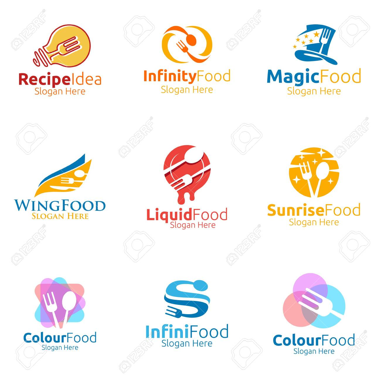 Healthy Food Logo Template Organic Vector Design For Menu Restaurant Royalty Free Cliparts Vectors And Stock Illustration Image 140027470