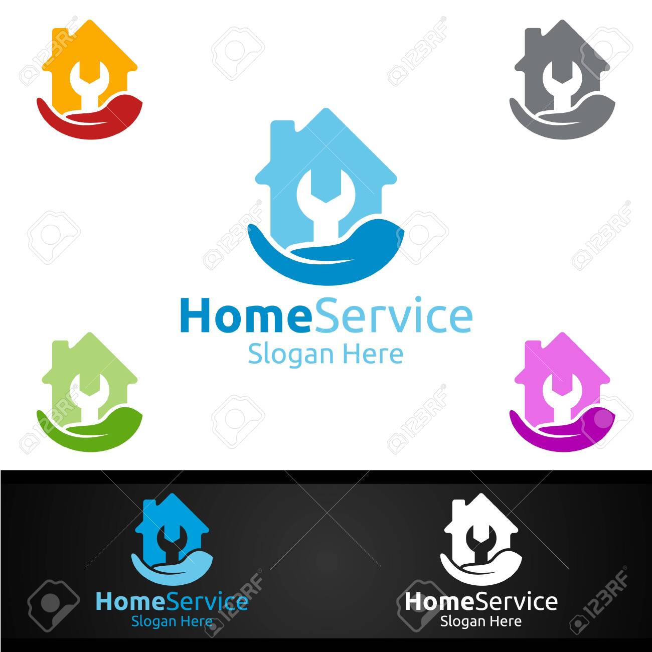 Real Estate And Fix Home Repair Services Logo Design Royalty Free Cliparts Vectors And Stock Illustration Image 153741833