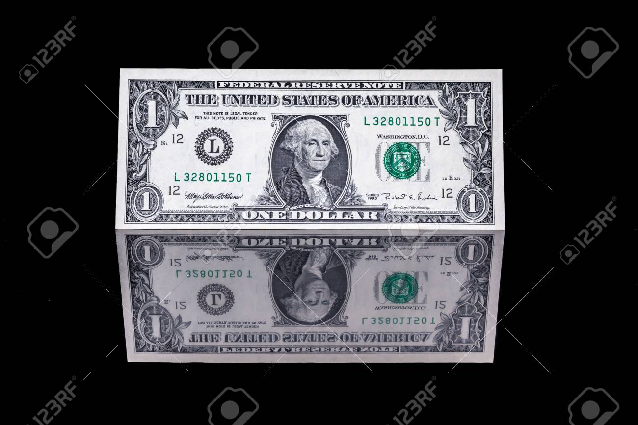 one dollar bill as well as the front and the back with reflection - 50352916