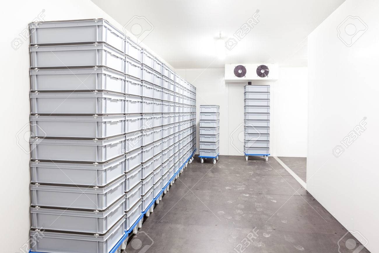 an industrial room refrigerator with two fans - 71379460