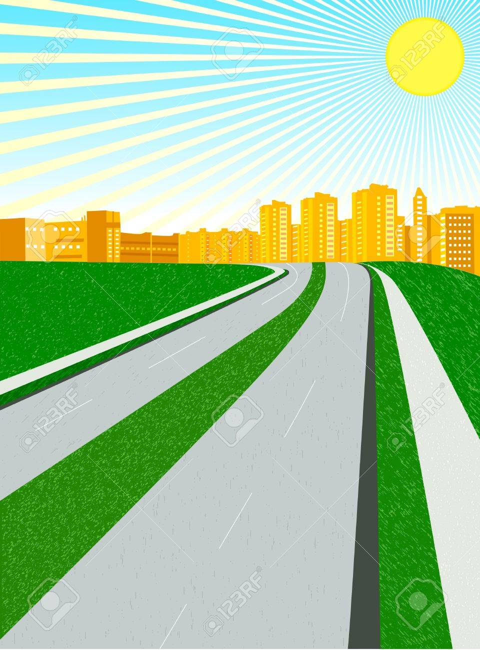 vector city in a sunny day; clip-art Stock Vector - 4568212
