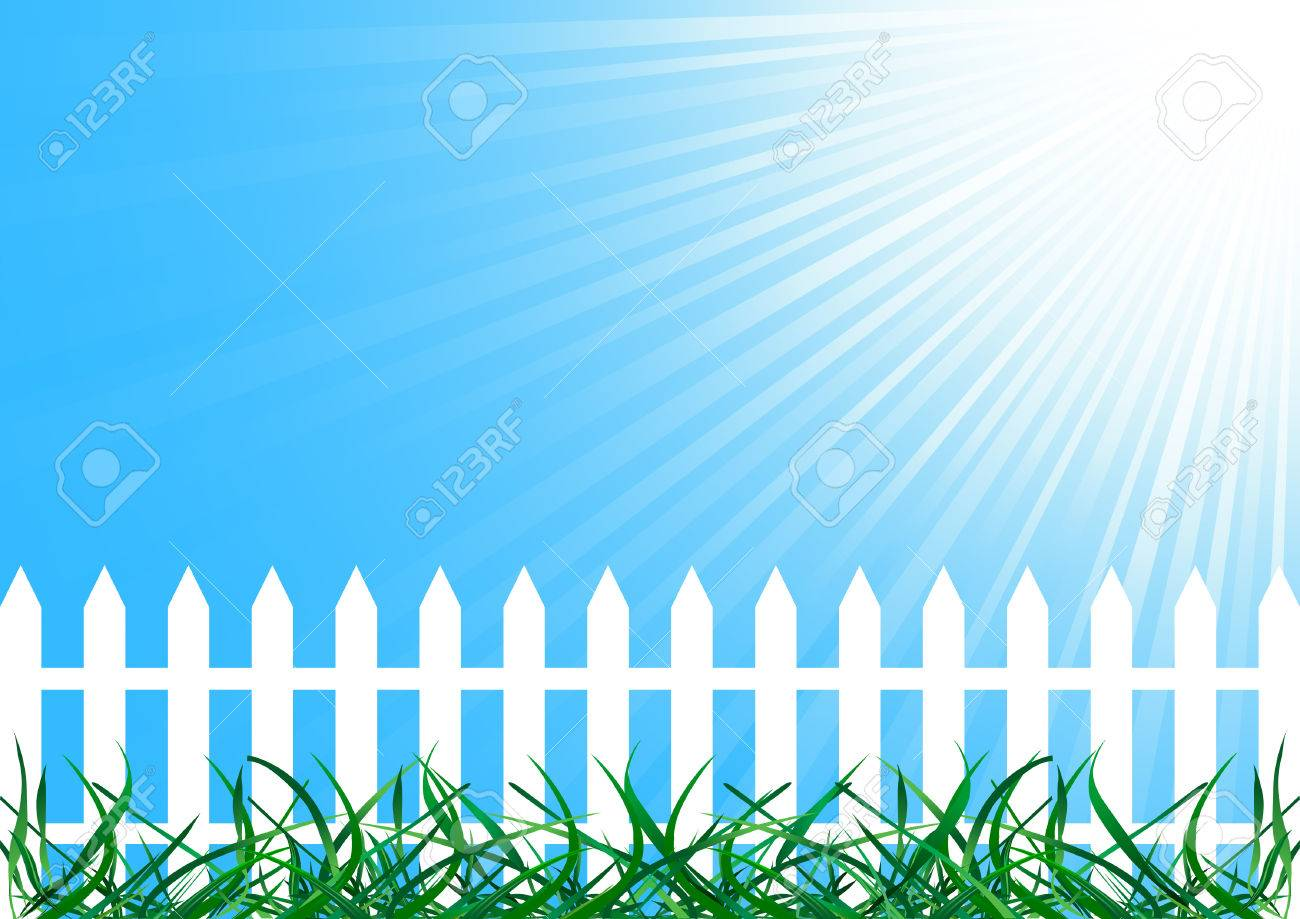 Vector background with fence; clip-art Stock Vector - 5421289