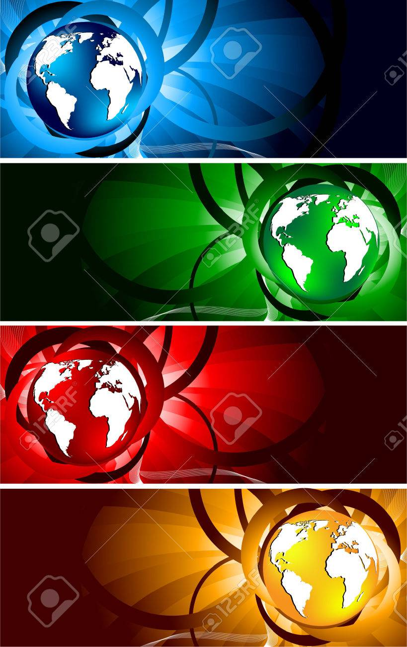 bright banners with globe, clip-art Stock Vector - 6584611