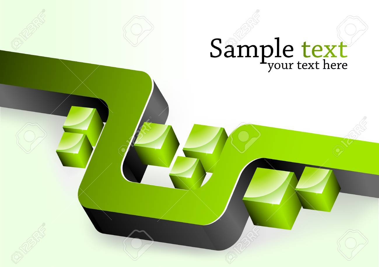 Abstract background. Illustration with green 3d element Stock Illustration - 8838546
