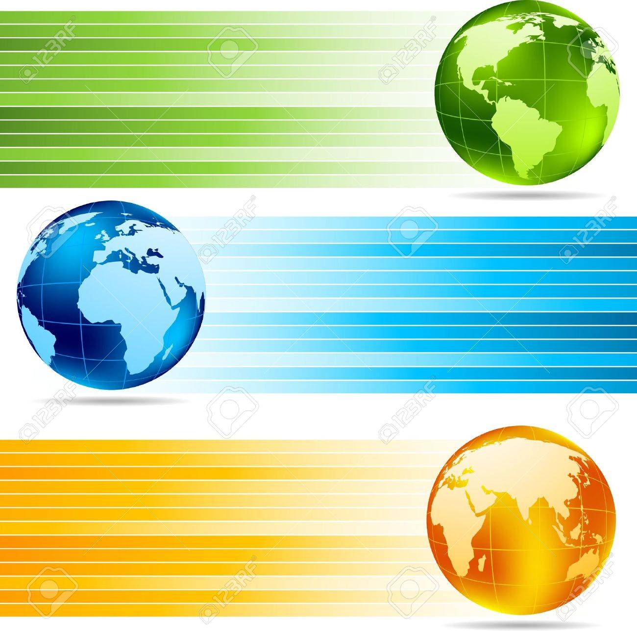 Collection of banners with globes Stock Photo - 8838594