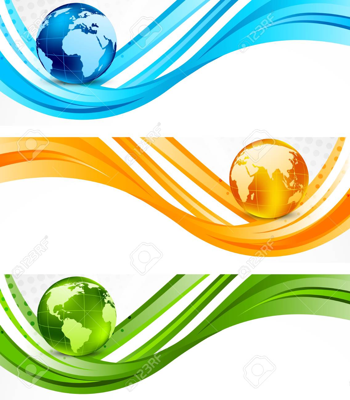 Set of banners with globe Stock Photo - 11539143