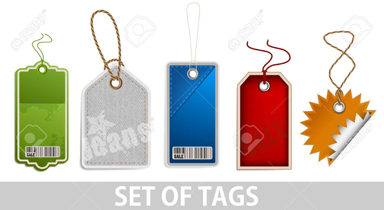 Set of tags on white background Stock Photo - 12728418