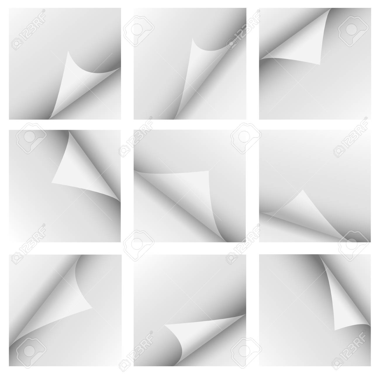 Set of curled corners isolated on white Stock Photo - 12727411