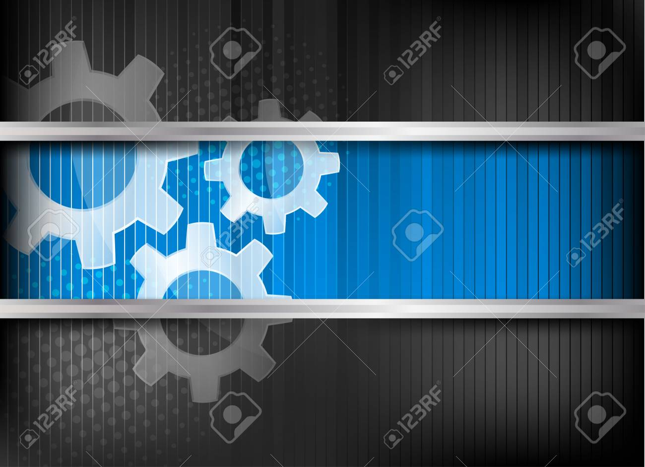 Background with three gears and blue line Stock Photo - 12726483