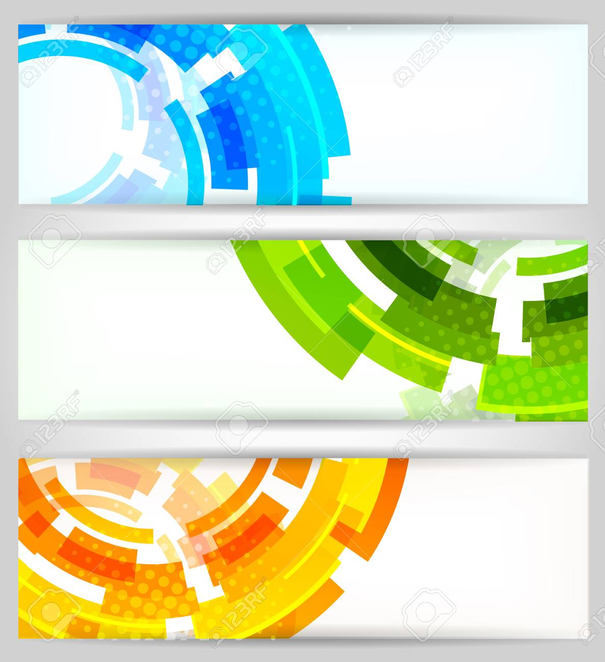 Set Of Color Tech Banners And Circle Stock Photo, Picture And ...