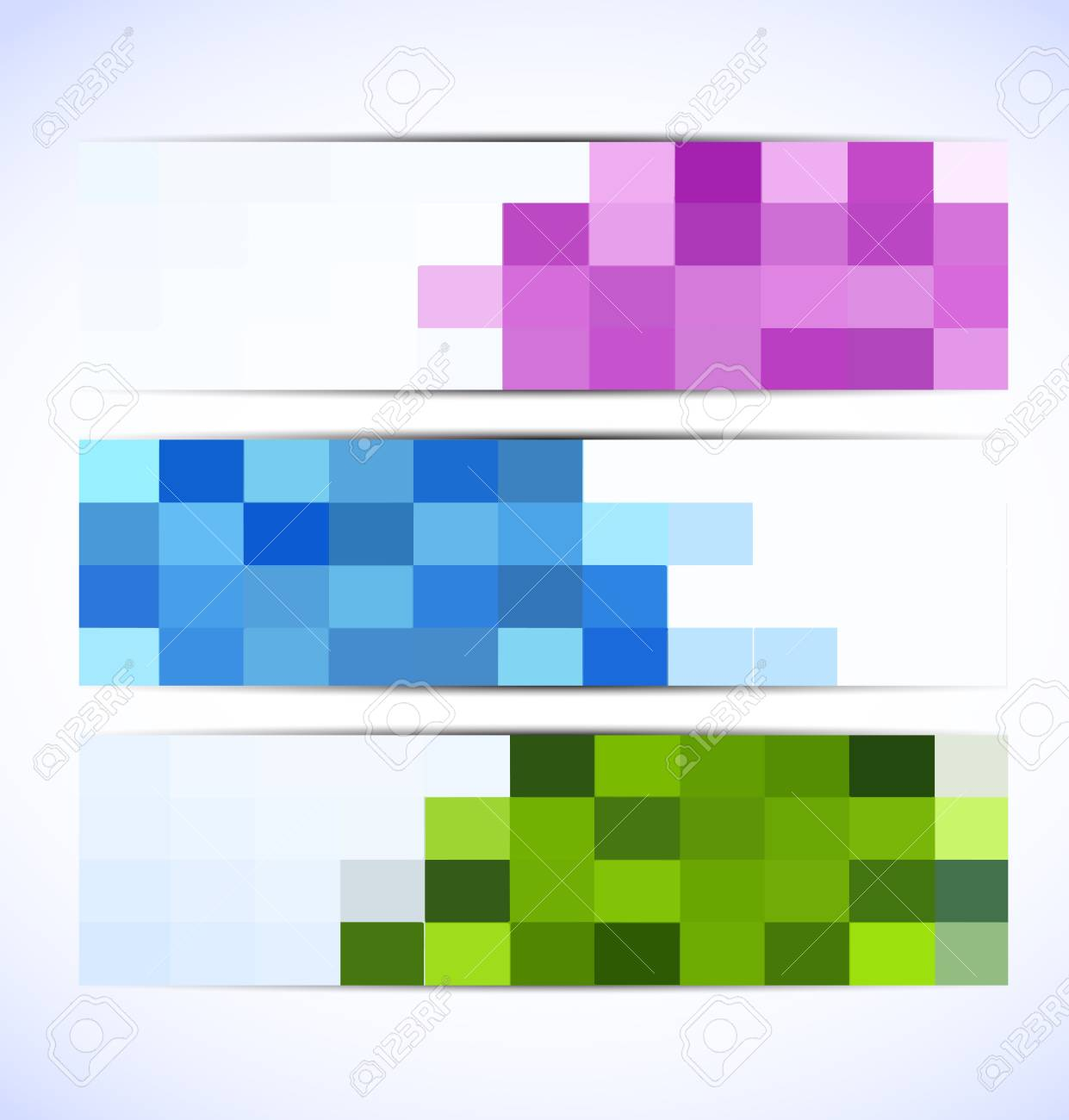 Set of colorful pixelated banners. Abstract illustration Stock Vector - 15472800