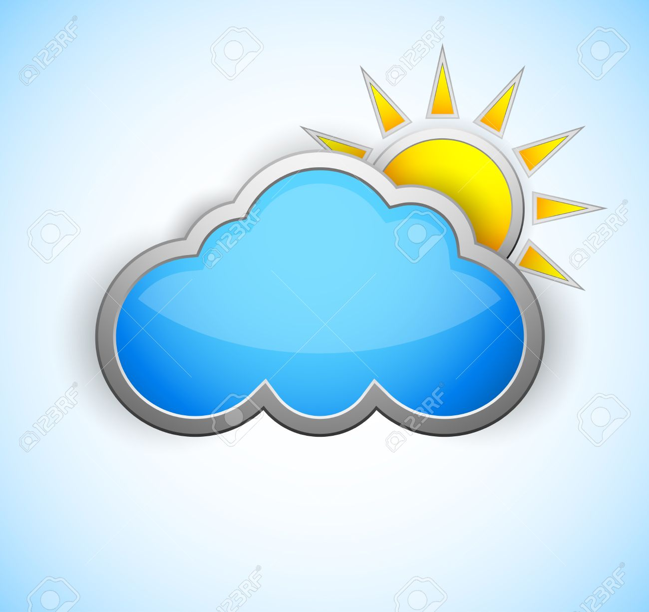 Sun and cloud weather icon  Shiny design Stock Vector - 15701811