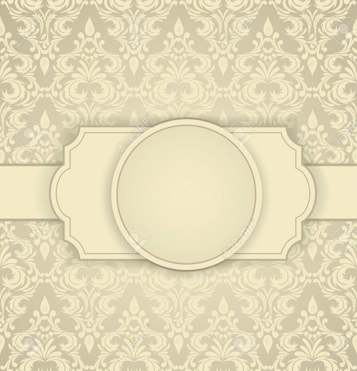 Invitation card with damask pattern and frame Stock Vector - 15813251