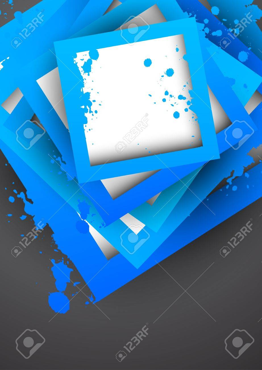 Background with blue grunge squares. Abstract illustration Stock Vector - 18561250