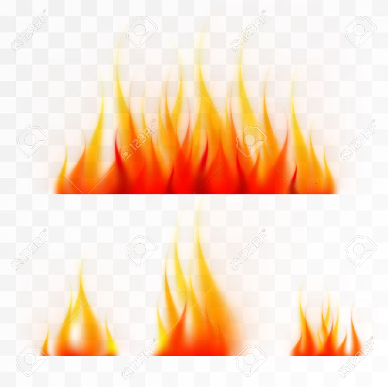 Set of isolated flames fire, good working on light background - 52125600