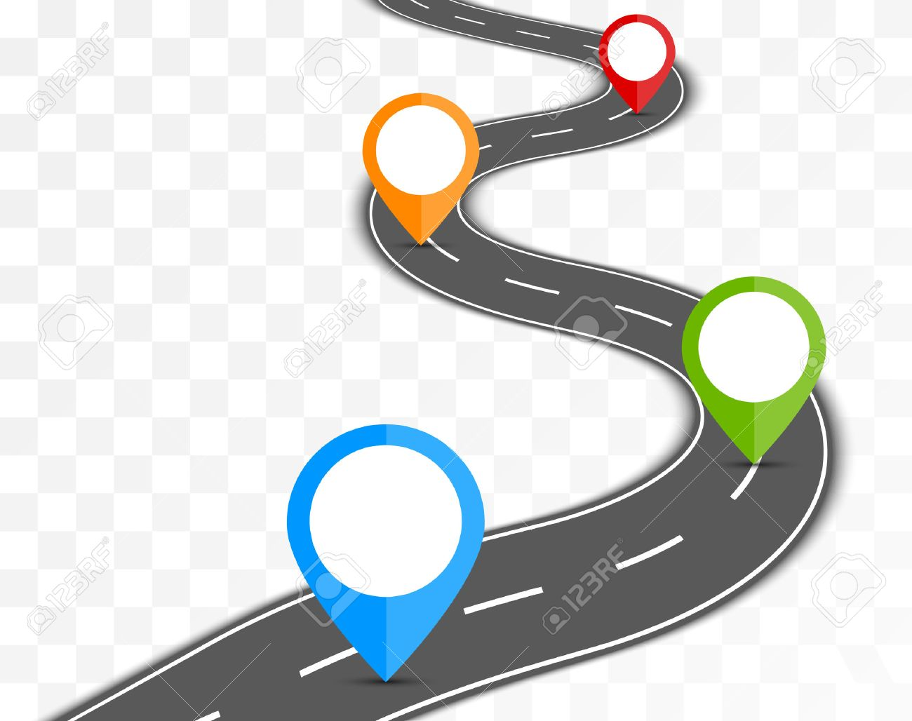 Road path on transparent background with pin pointer illustration - 52125602