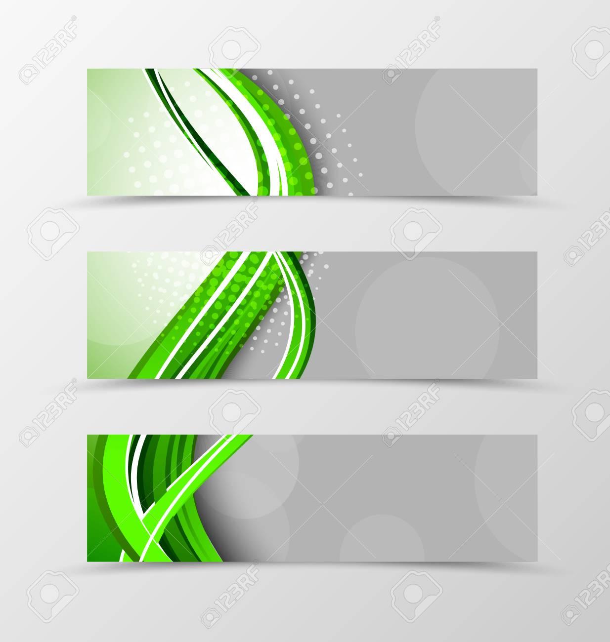 Conjunto De Diseño De Onda De Banner De Cabecera Con Líneas Verdes Y ...