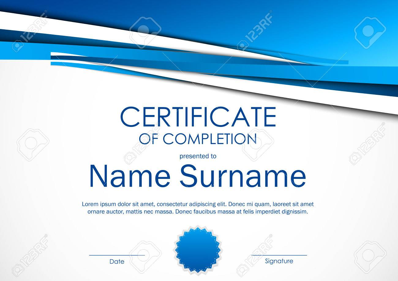 Certificate of completion template with light blue dynamic certificate of completion template with light blue dynamic material background and seal vector illustration stock yadclub Gallery