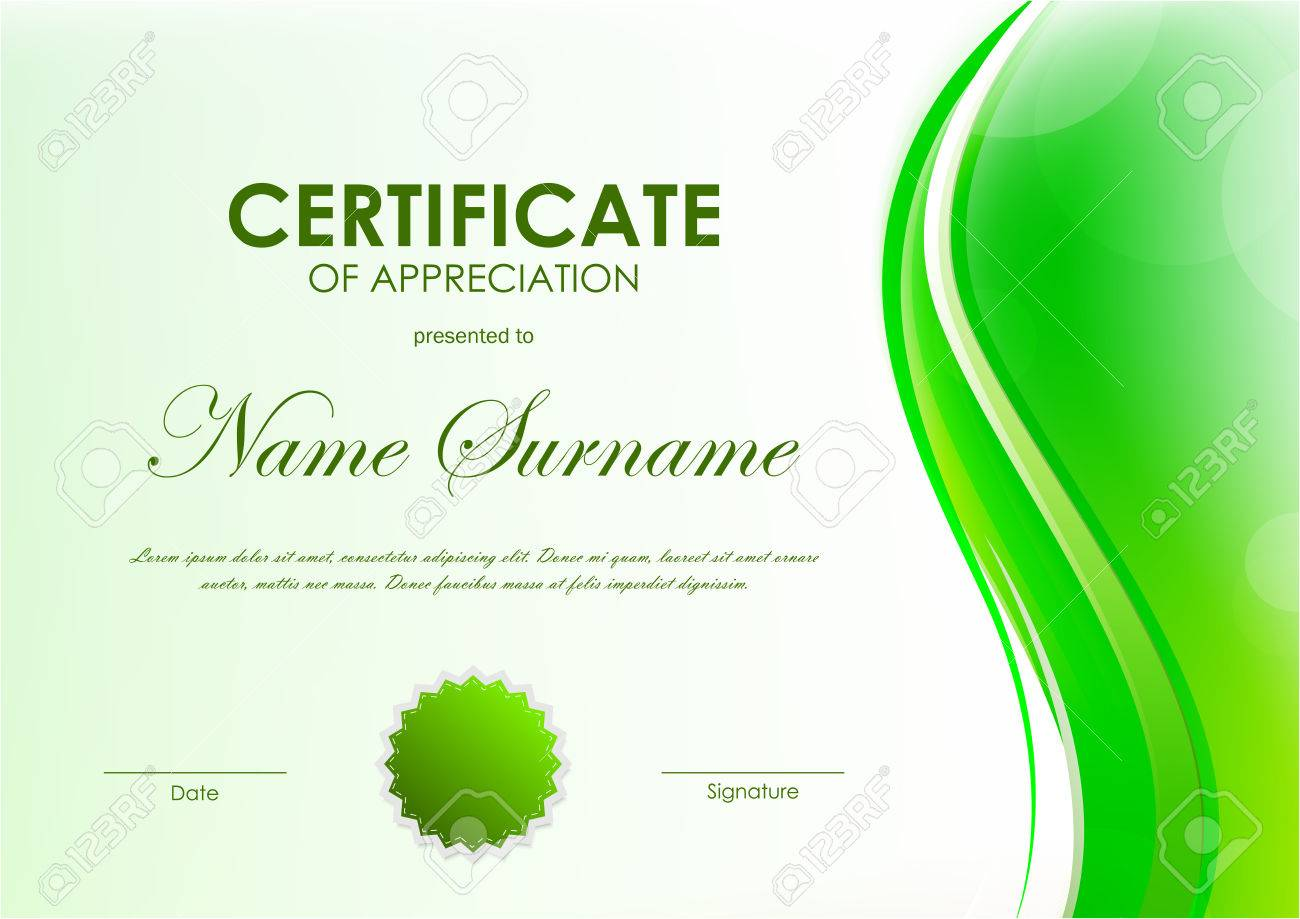 Certificate of appreciation template with green dynamic soft certificate of appreciation template with green dynamic soft bright wavy background and seal vector illustration yadclub Choice Image