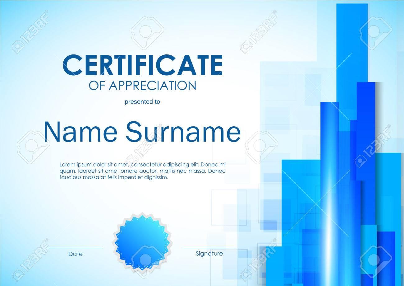 Certificate Of Appreciation Template With Digital Light Blue ...