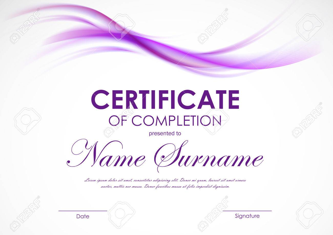 certificate of completion template with purple transparent wavy smoky soft background vector illustration stock vector