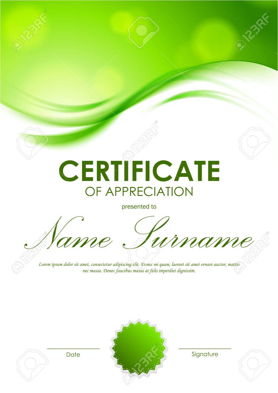 Certificate Of Appreciation Template With Shiny Green Wavy Soft
